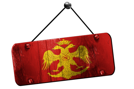 byzantine: Byzatine eagle flag with some soft highlights and folds, 3D rendering, old vintage hanging sign Stock Photo