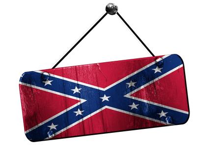 Rebel flag, 3D rendering, old vintage hanging sign