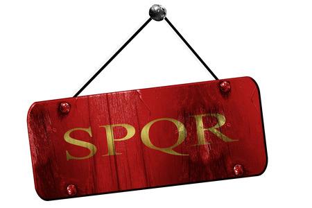 spqr: spqr, 3D rendering, old vintage hanging sign