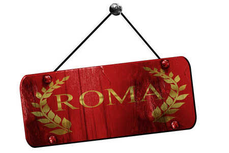 commander: roma with laurel wreath and some soft smooth lines, 3D rendering, old vintage hanging sign