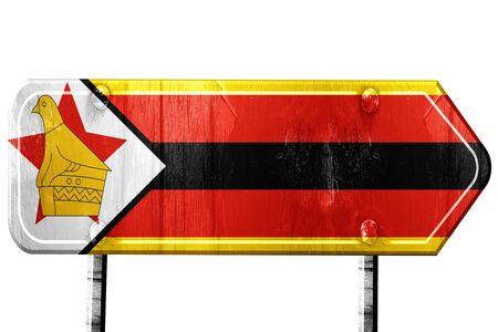 zimbabwe: Zimbabwe flag, 3D rendering, vintage road sign isolation Stock Photo