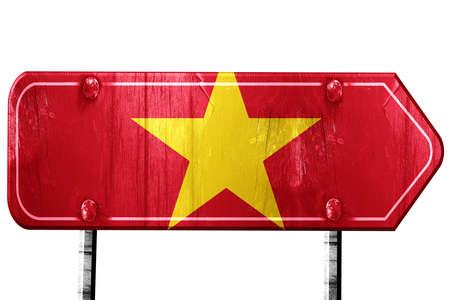 vietnam flag: Vietnam flag, 3D rendering, vintage road sign isolation