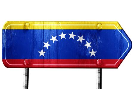 venezuela flag: Venezuela flag, 3D rendering, vintage road sign isolation