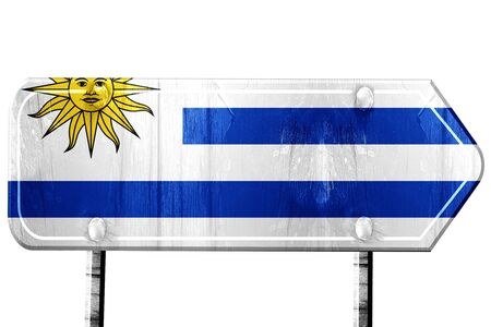 uruguay flag: Uruguay flag, 3D rendering, vintage road sign isolation