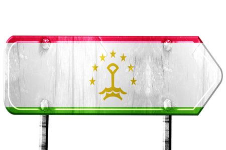 tajikistan: Tajikistan flag, 3D rendering, vintage road sign isolation