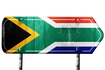 isolation: South africa flag, 3D rendering, vintage road sign isolation