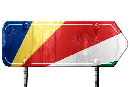 isolation: seychelles flag, 3D rendering, vintage road sign isolation