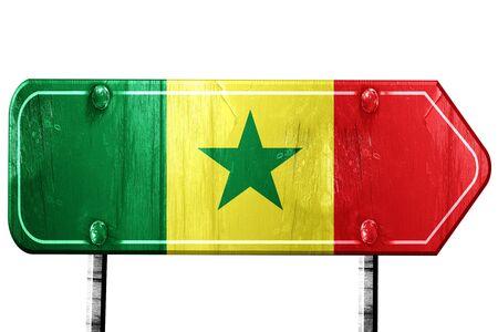 senegal: Senegal flag, 3D rendering, vintage road sign isolation