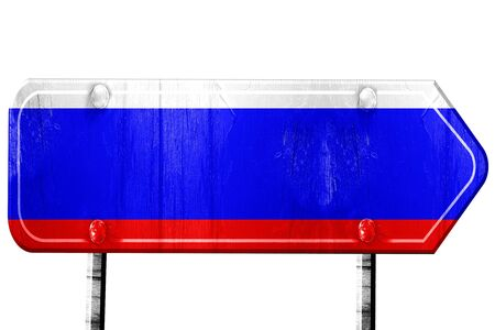 isolation: Russia flag, 3D rendering, vintage road sign isolation