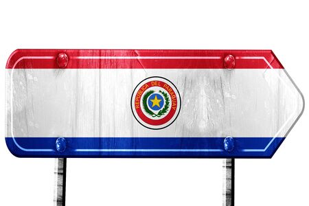 isolation: Paraguay flag, 3D rendering, vintage road sign isolation