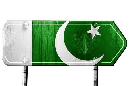 pakistan flag: Pakistan flag, 3D rendering, vintage road sign isolation