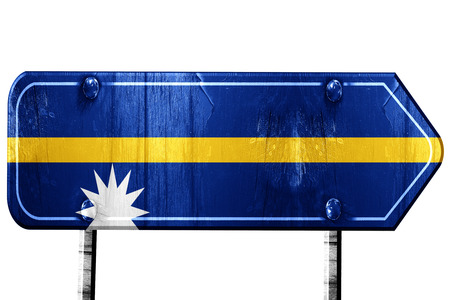 isolation: Nauru flag, 3D rendering, vintage road sign isolation