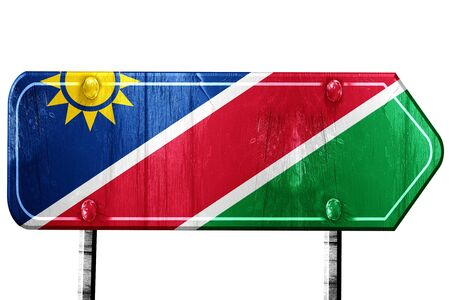 isolation: Namibian flag, 3D rendering, vintage road sign isolation