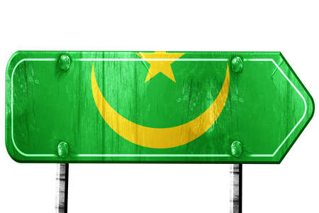 mauritania: Mauritania flag, 3D rendering, vintage road sign isolation