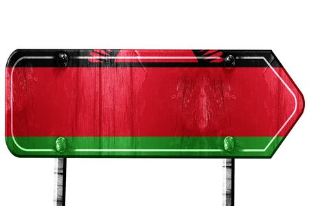 isolation: Malawi flag, 3D rendering, vintage road sign isolation