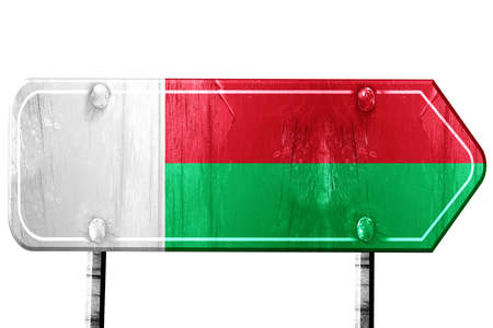 isolation: Madagascar flag, 3D rendering, vintage road sign isolation Stock Photo
