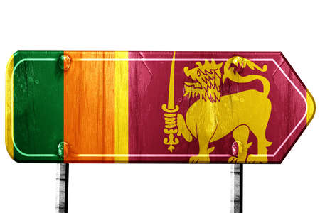 isolation: Sri Lanka flag, 3D rendering, vintage road sign isolation Stock Photo