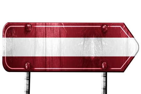 latvia flag: Latvia flag, 3D rendering, vintage road sign isolation