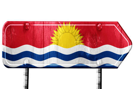 isolation: Kiribati flag, 3D rendering, vintage road sign isolation Stock Photo