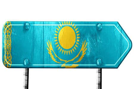 kazakhstan: Kazakhstan flag, 3D rendering, vintage road sign isolation