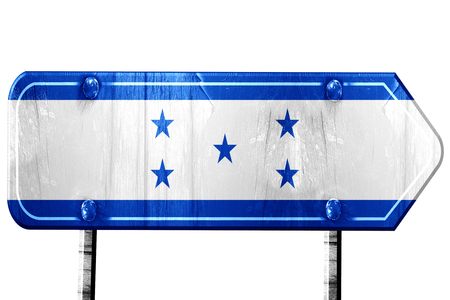bandera de honduras: bandera de Honduras, 3D, camino de la vendimia aislada signo Foto de archivo