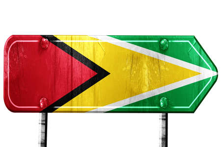 isolation: Guyana flag, 3D rendering, vintage road sign isolation Stock Photo
