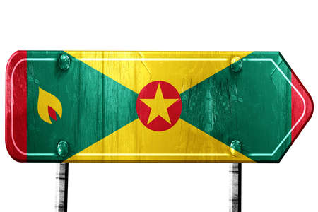 isolation: Grenada flag, 3D rendering, vintage road sign isolation
