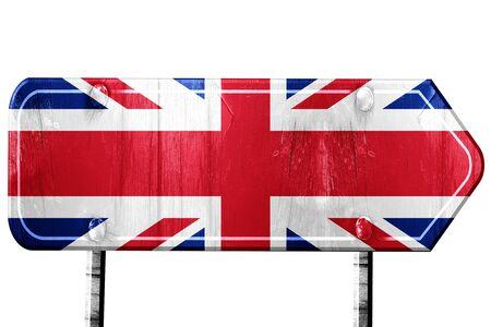 bandera de gran breta�a: Great britain flag, 3D rendering, vintage road sign isolation Foto de archivo