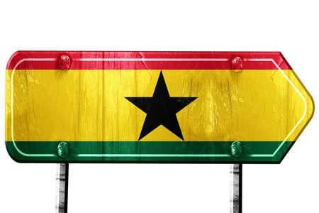 ghanese: Ghana flag, 3D rendering, vintage road sign isolation Stock Photo