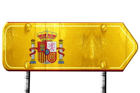 spanish flag: Spanish flag, 3D rendering, vintage road sign isolation