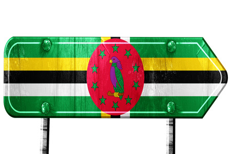 dominica: Dominica flag, 3D rendering, vintage road sign isolation Stock Photo
