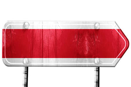 isolation: Costa Rica flag, 3D rendering, vintage road sign isolation