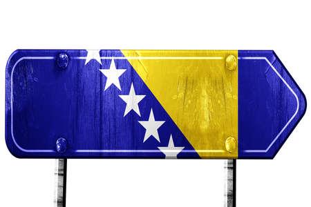 herzegovina: Bosnia and Herzegovina flag, 3D rendering, vintage road sign isolation Stock Photo
