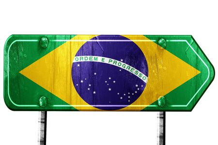 isolation: Brasil flag, 3D rendering, vintage road sign isolation