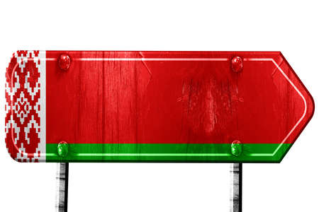 isolation: Belarus flag, 3D rendering, vintage road sign isolation