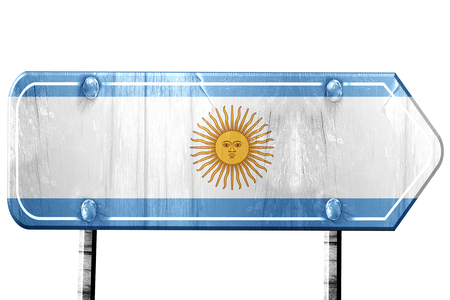 isolation: Argentina flag, 3D rendering, vintage road sign isolation