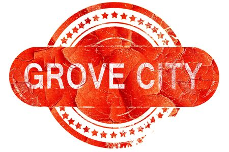 grove: grove city, red grunge rubber stamp on white background