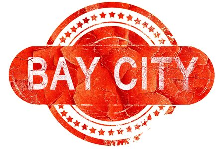 bay: bay city, red grunge rubber stamp on white background