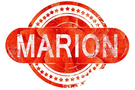 marion: marion, red grunge rubber stamp on white background