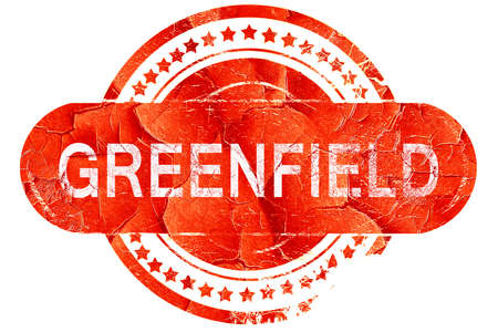 greenfield, red grunge rubber stamp on white background