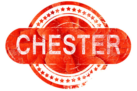 chester: chester, red grunge rubber stamp on white background