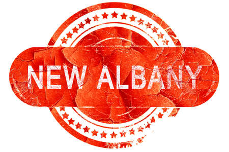albany: new albany, red grunge rubber stamp on white background