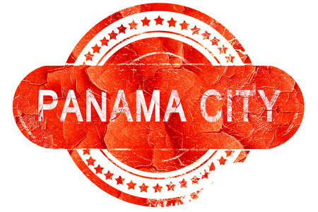 panama city: panama city, red grunge rubber stamp on white background