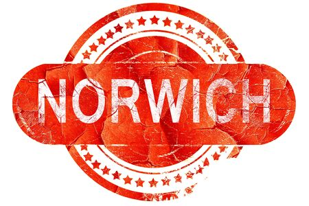 norwich, red grunge rubber stamp on white background