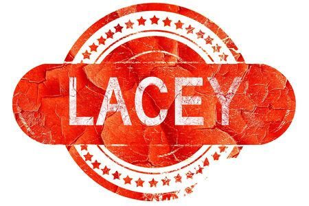 lacey: lacey, red grunge rubber stamp on white background Stock Photo