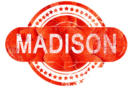 madison: madison, red grunge rubber stamp on white background