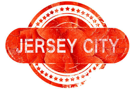 jersey city: jersey city, red grunge rubber stamp on white background