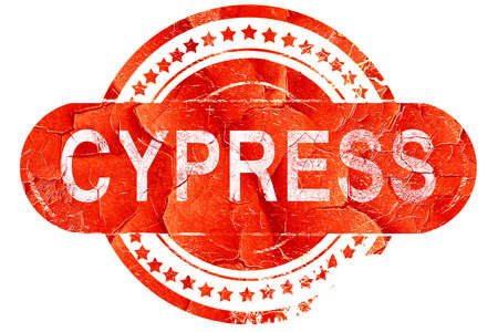 cypress: cypress, red grunge rubber stamp on white background