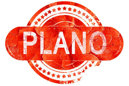 plano: plano, red grunge rubber stamp on white background Stock Photo