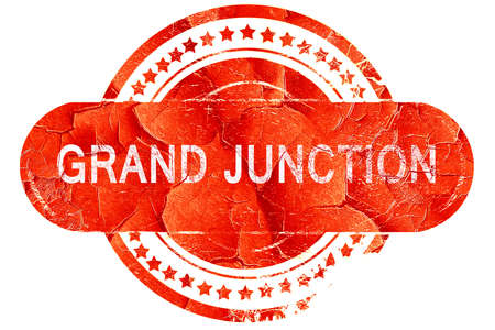 junction: grand junction, red grunge rubber stamp on white background